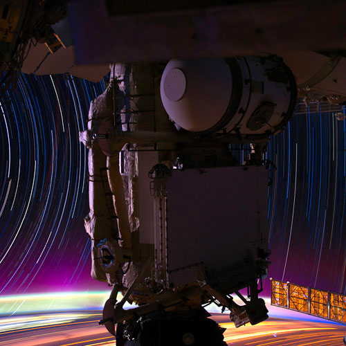 Star trails seen from ISS.