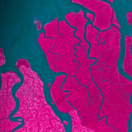 Infrared photo of Ganges River delta.
